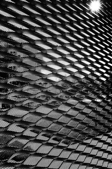 Street photography. Black and white cityscape through grid.
